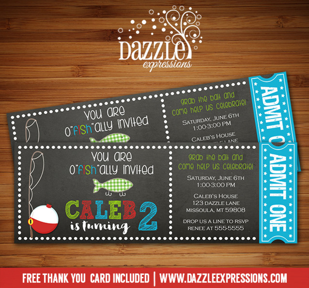 Fishing Chalkboard Ticket Invitation 1 - FREE thank you card included