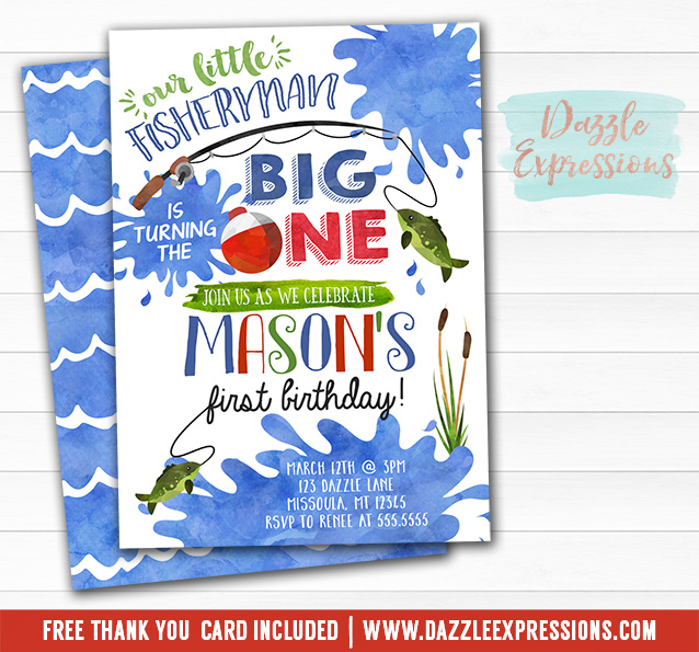 printable fishing watercolor first birthday invitation