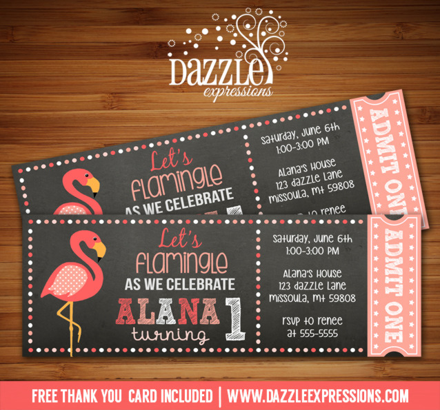 printable flamingo chalkboard ticket birthday invitation - digital - thank you
