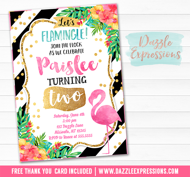 Printable Watercolor Flamingo Birthday Invitation Luau Tropical