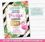 Flamingo Watercolor Invitation 3 - FREE thank you card