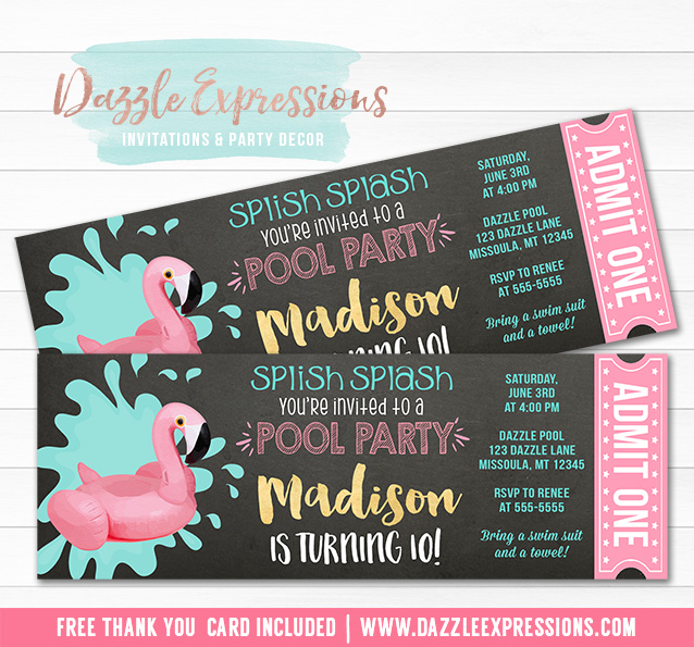 Flamingo Chalkboard Pool Party Ticket Invitation 2 - FREE thank you card