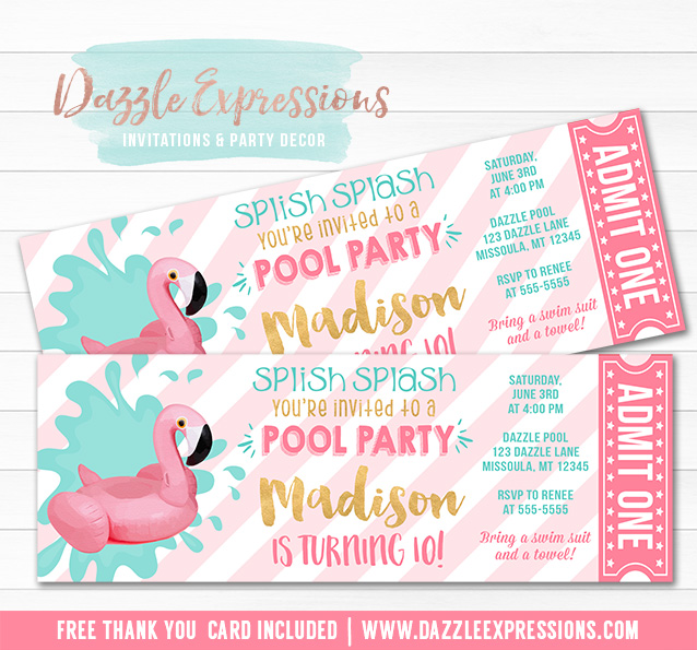 Flamingo Float Pool Party Ticket Invitation 1 - FREE thank you card