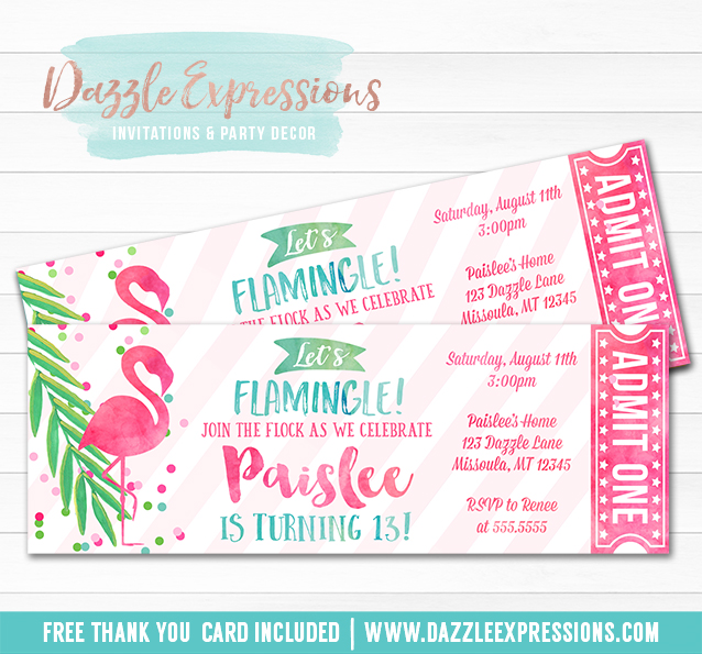 Flamingo Ticket Invitation 3 - FREE thank you card included