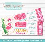 Flamingo Ticket Invitation 2 - FREE thank you card included