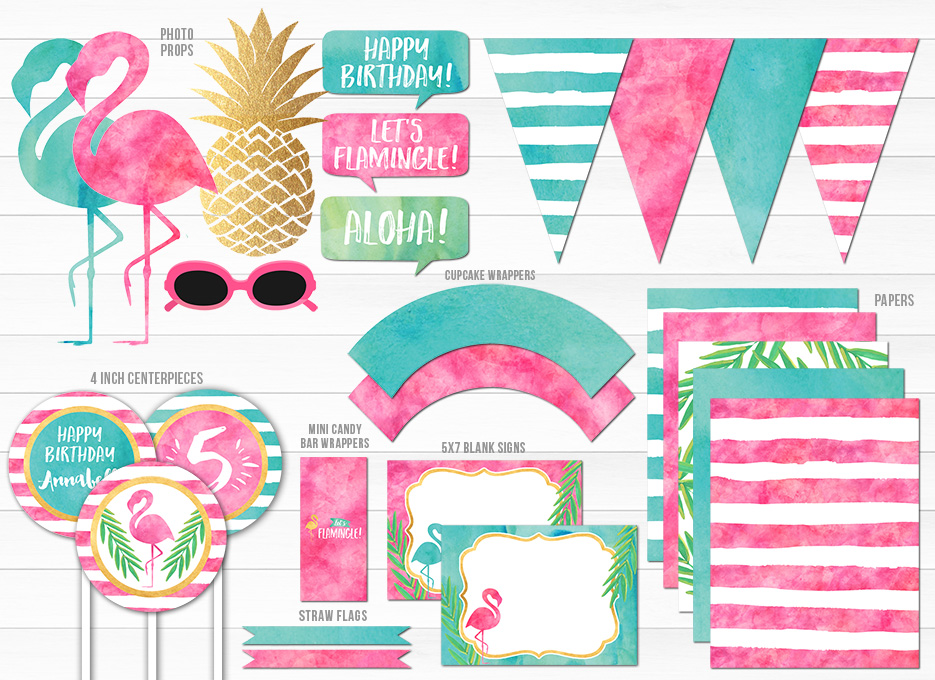 Printable Watercolor Flamingo Birthday Party Package