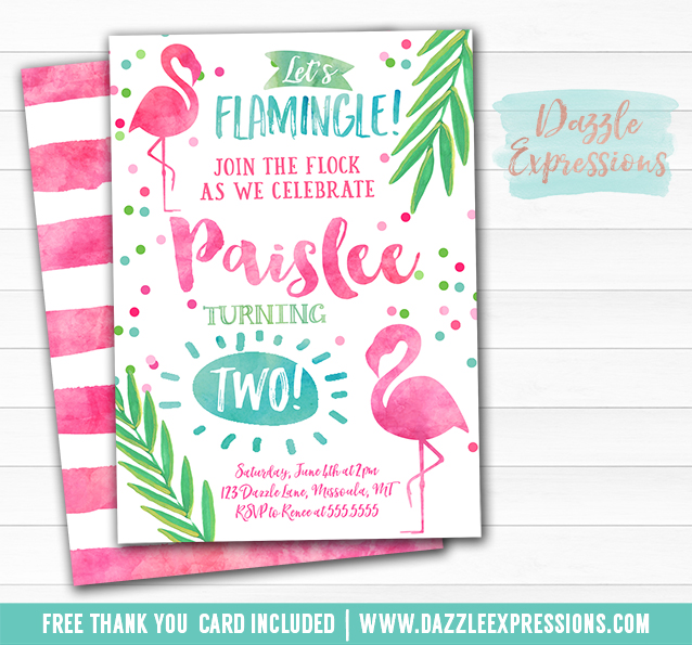 Printable Watercolor Flamingo Birthday Invitation - Luau ...
