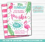 Flamingo Watercolor Invitation 2 - FREE thank you card