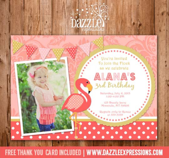 Flamingo Birthday Invitation - FREE thank you card included