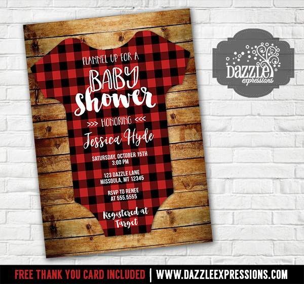 printable plaid flannel onesie baby shower invitation rustic