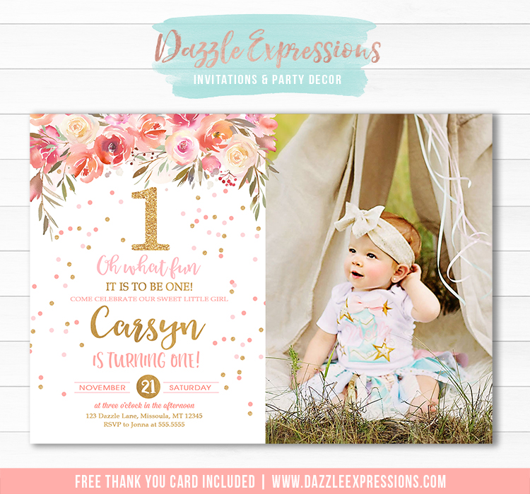 Floral 1st Birthday Invitation - FREE thank you card