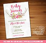 Floral Antlers Baby Shower Invitation - FREE thank you card included