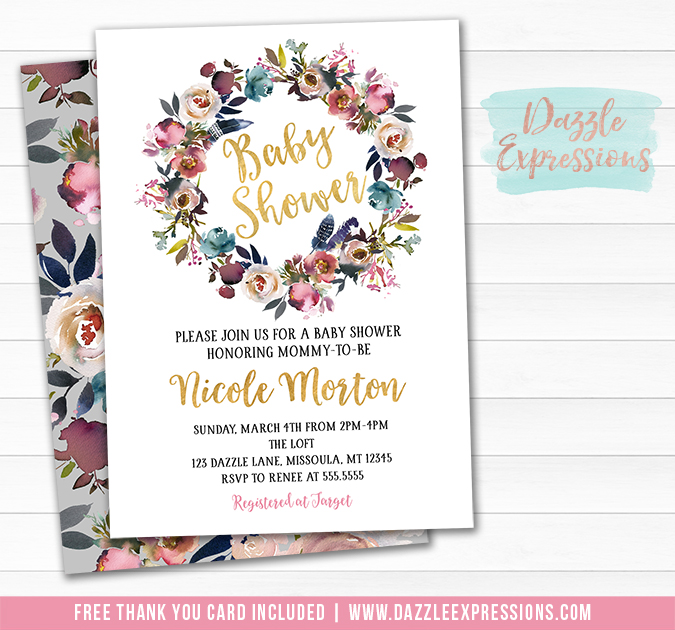 Floral Wreath Baby Shower Invitation 2 - FREE thank you card included