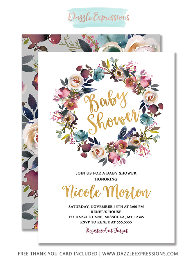 Floral Baby Shower Invitation 1 - FREE thank you card included