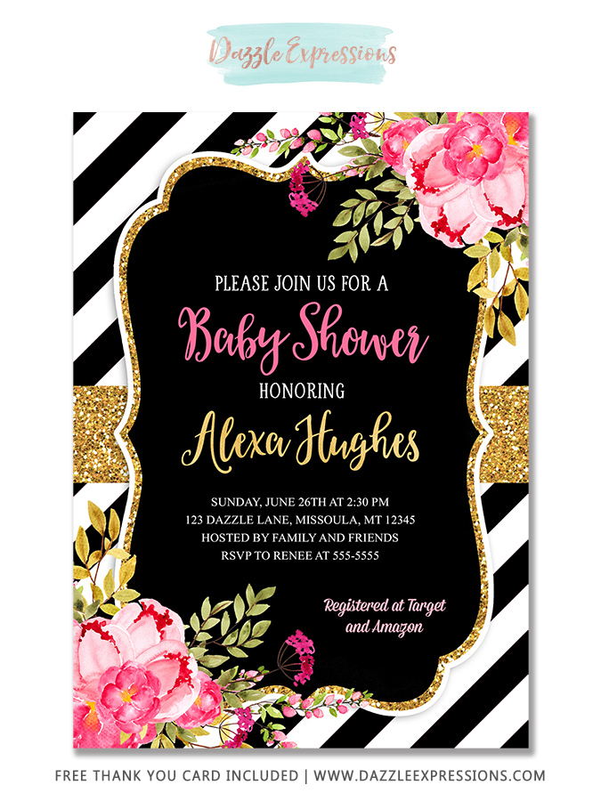 Floral Baby Shower Invitation 4 - FREE thank you card included
