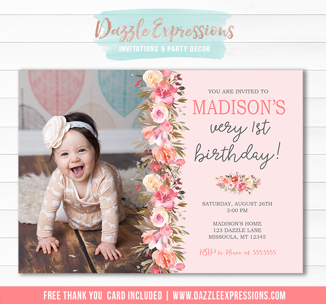 Floral Birthday Invitation 1 - FREE thank you card