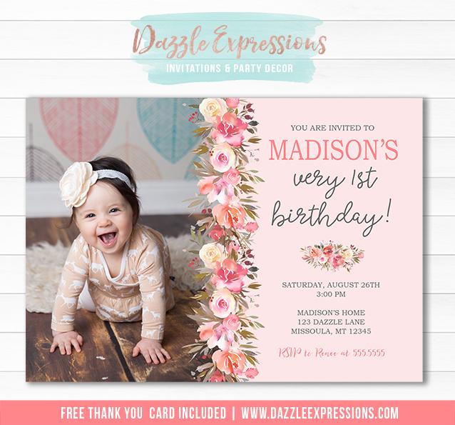 Floral Birthday Invitation 1 - FREE thank you card