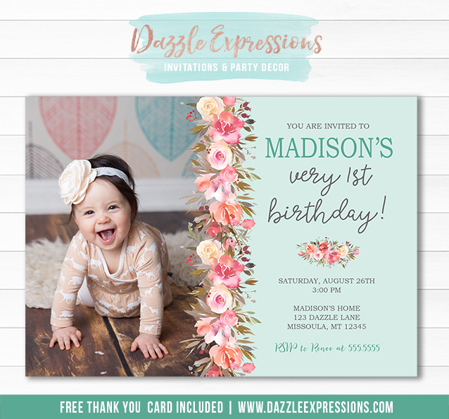 Floral Birthday Invitation 2 - FREE thank you card
