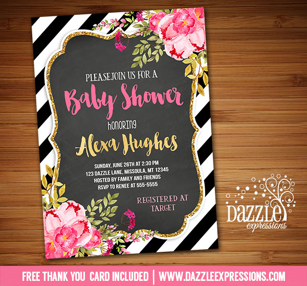 Floral Gold and Chalkboard Baby Shower Invitation - FREE thank you card