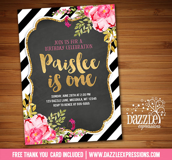 Printable Flora And Gold Chalkboard Birthday Invitation 1st 2nd
