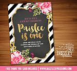 Floral Gold and Chalkboard Birthday Invitation - FREE thank you card