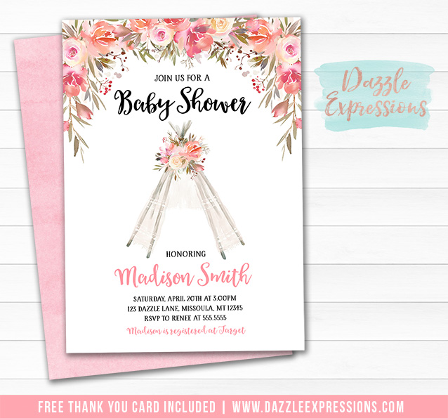 Printable Floral Lace Teepee Baby Shower Invitation Baby Girl Pink