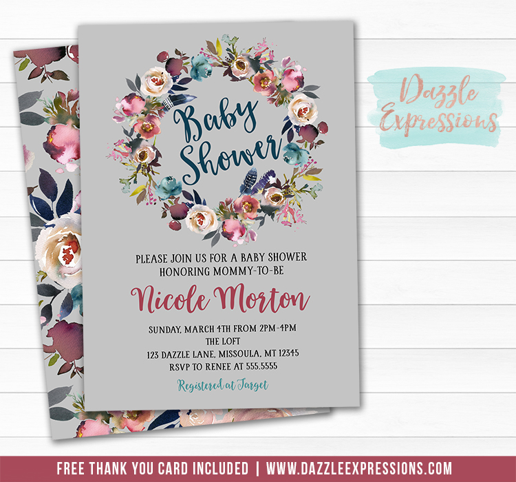 Floral Wreath Baby Shower Invitation 3 - FREE thank you card included