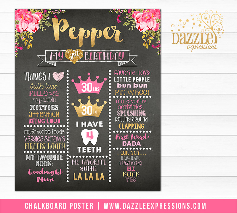 Floral and Gold Chalkboard Poster