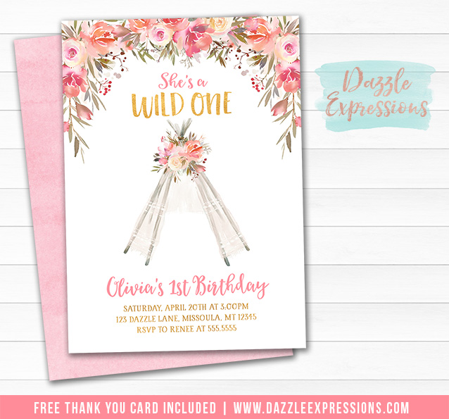 Floral Teepee Birthday Invitation 2 - FREE tank you card included