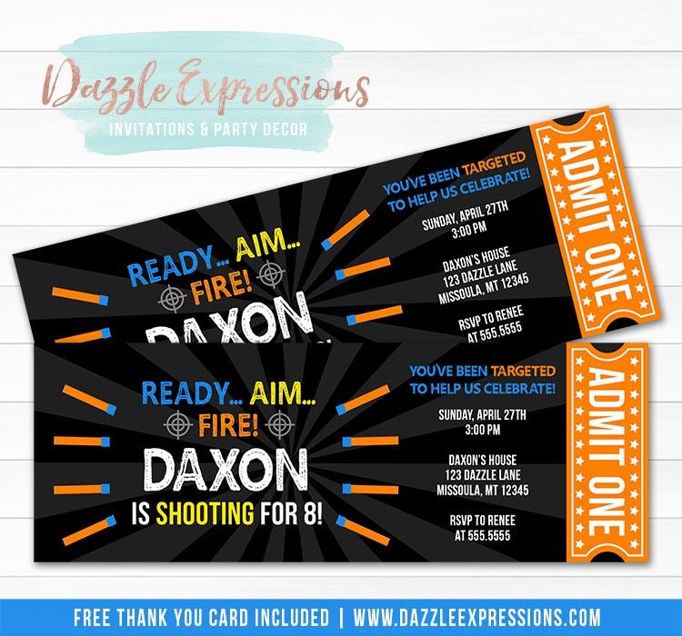 Foam Dart Ticket Invitation 2 - FREE thank you card