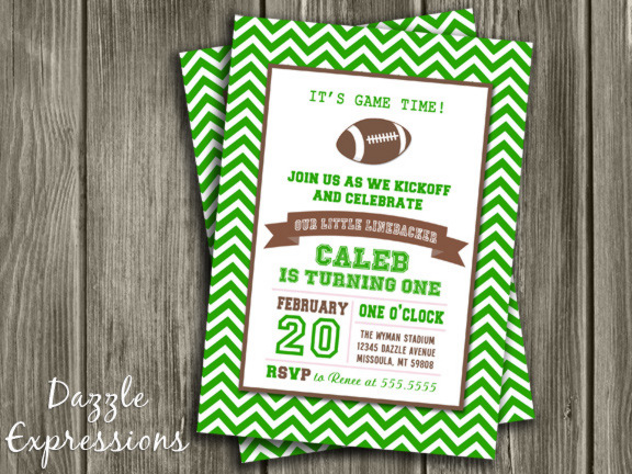 Printable Chevron Football Birthday Invitation Kids Sports