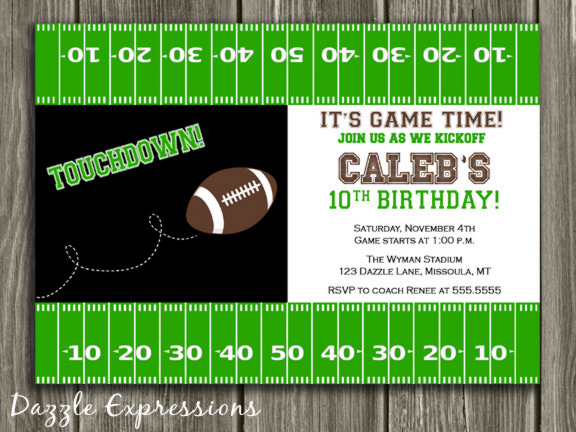 Football Birthday Invitation 2 - Thank You Card Included