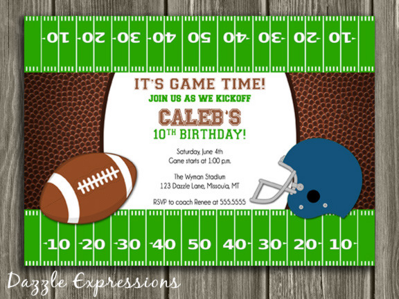 Football Birthday Invitation 3 - Thank You Card Included