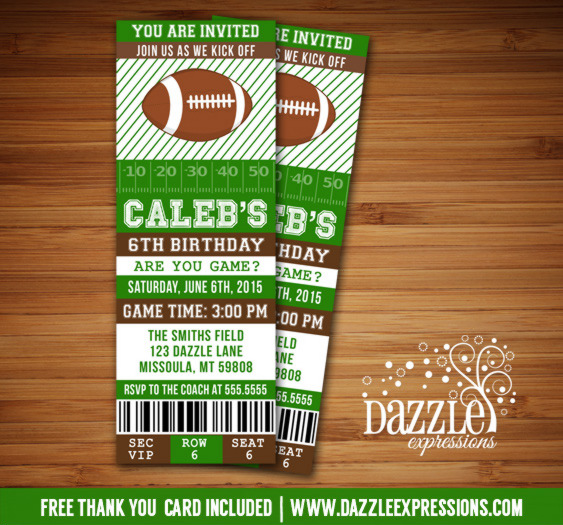 Football Ticket Birthday Invitation 2 - FREE thank you card included