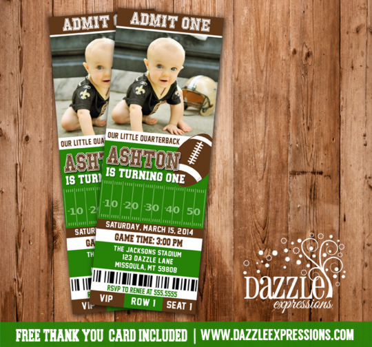 printable football ticket photo birthday invitation - kids sports,