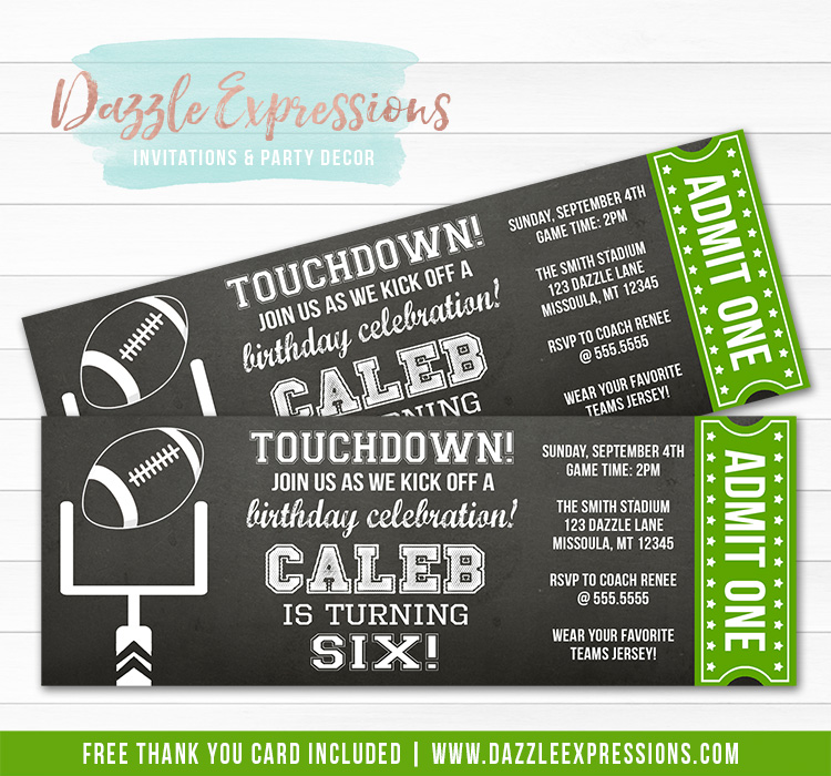 Football Chalkboard Ticket Invitation - FREE thank you card included
