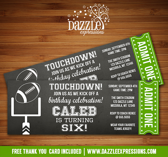 Printable chalkboard football ticket birthday invitation for Sports ticket template free download