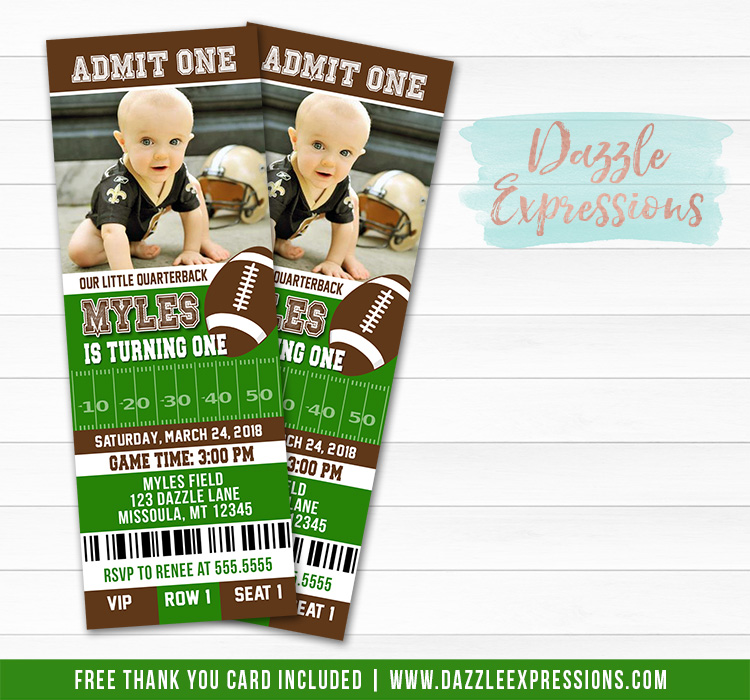 Football Ticket Birthday Invitation - FREE thank you card included