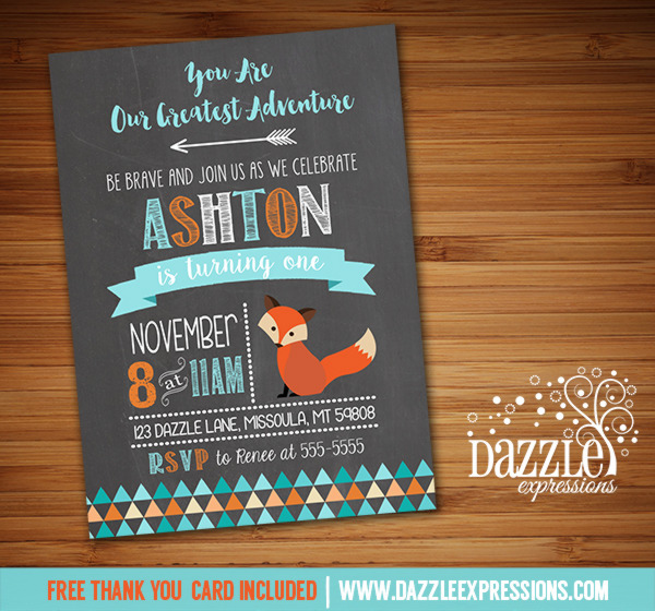 Fox Chalkboard Birthday Invitation 2 - FREE thank you card included