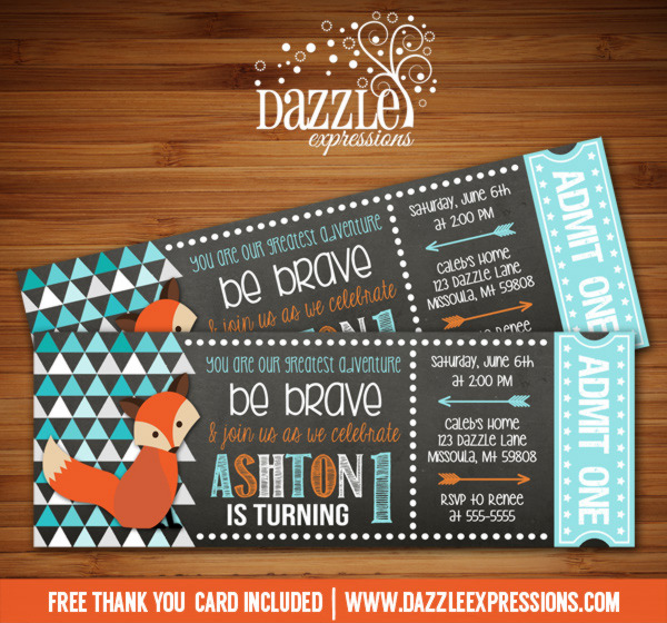 Fox Chalkboard Ticket Invitation - FREE thank you card included