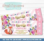 Tribal and Floral Fox Ticket Invitation - FREE thank you card included