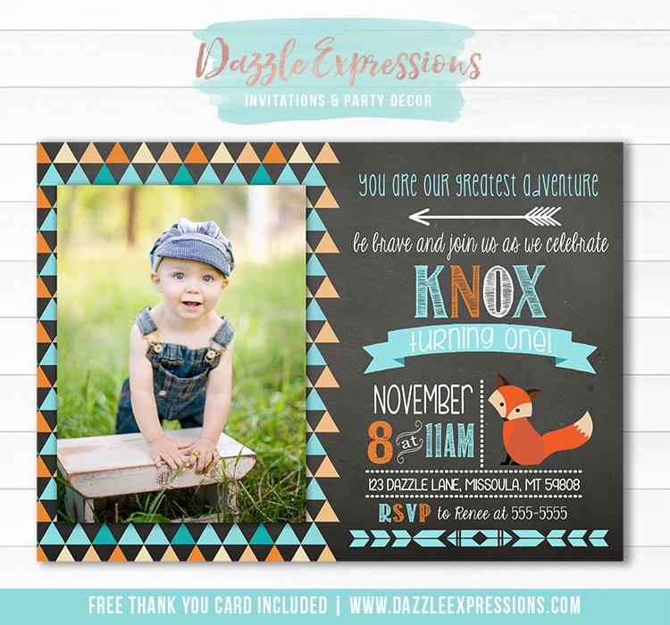 Fox Chalkboard Birthday Invitation 1 - FREE thank you card included