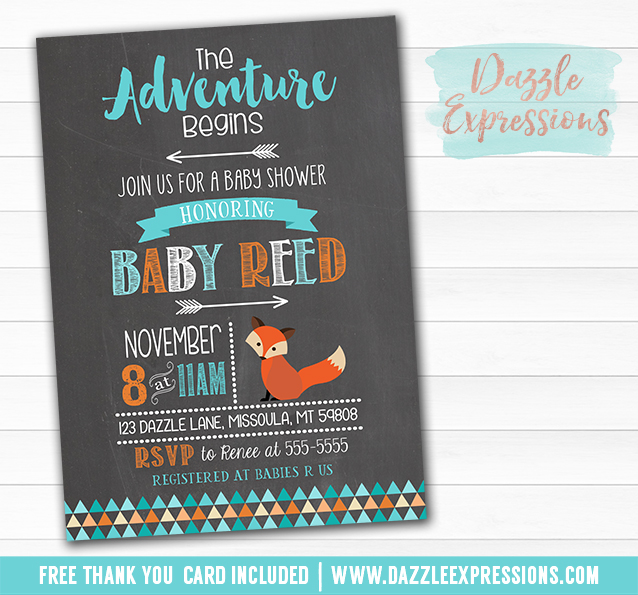 Printable Tribal Fox Chalkboard Baby Shower Invitation ...