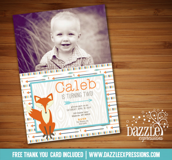 Fox and Arrows Birthday Invitation - FREE thank you card