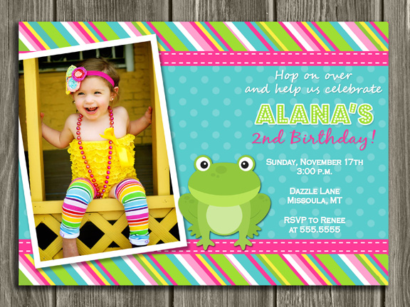 Frog Birthday Invitation - Thank You Card Included