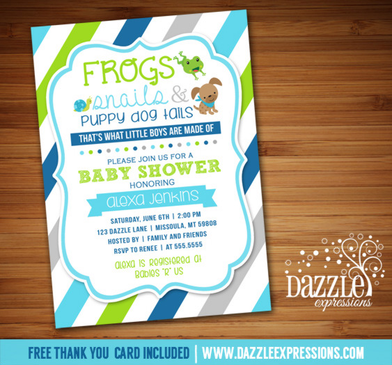 Frogs, Snails and Puppy Dog Tails Baby Shower Invitation - FREE thank you card included