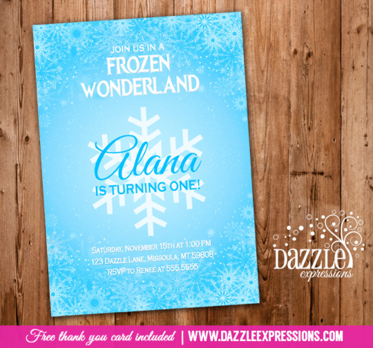 Frozen Birthday Invitation 1 - FREE thank you card included