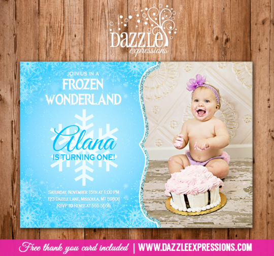 Frozen Birthday Invitation 3 - FREE thank you card included