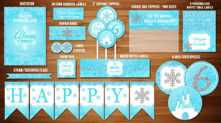 Glitter Frozen Inspired Birthday Party Package - Printable