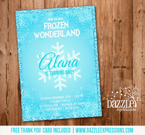 Frozen Birthday Invitation 2 - FREE thank you card included